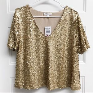 NWT Socialite Gold Sequin Blouse